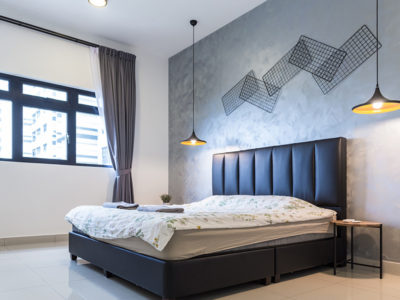 bedroom cement wall treatment